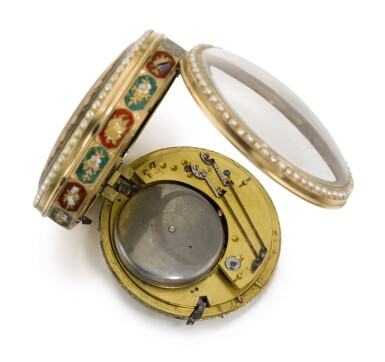 View 3. Thumbnail of Lot 23. 'THE GARDEN THEATRE'  SWISS | A RARE GOLD, ENAMEL AND PEARL-SET QUARTER REPEATING AUTOMATON WATCH WITH CONCEALED EROTIC SCENE FOR THE CHINESE MARKET  CIRCA 1800.