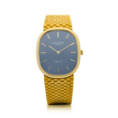 View 1. Thumbnail of Lot 58.  PATEK PHILIPPE   REFERENCE 3838/1 GRAND ELLIPSE  A YELLOW GOLD OVAL BRACELET WATCH, MADE IN 1981.