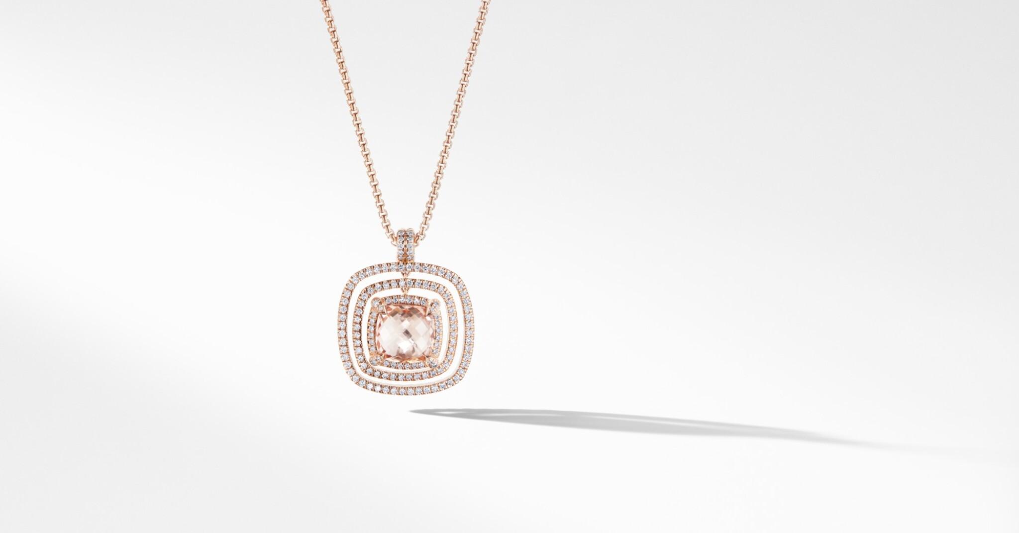 View full screen - View 1 of Lot 15. David Yurman | 18 Karat Gold, Morganite and Diamond 'Châtelaine' Necklace.