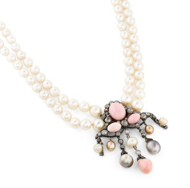 View 3. Thumbnail of Lot 11. COLLIER PERLES FINES, PERLES DE CULTURE ET DIAMANTS | NATURAL PEARL, CULTURED PEARL AND DIAMOND NECKLACE.