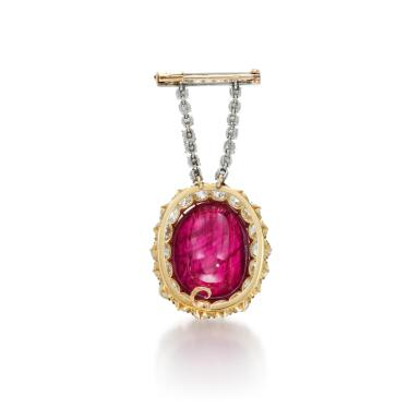 View 3. Thumbnail of Lot 53. RUBY AND DIAMOND BROOCH.