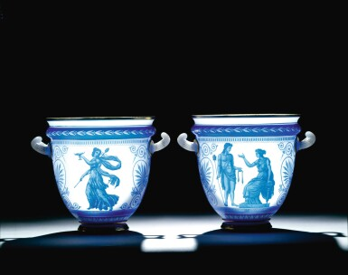 View 5. Thumbnail of Lot 92. A PAIR OF CAMEO GLASS VASES BY LA COMPAGNIE DES CRISTALLERIES DE BACCARAT, CIRCA 1865.