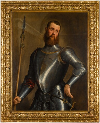 View 3. Thumbnail of Lot 63. JACOPO DA PONTE, CALLED JACOPO BASSANO  |  PORTRAIT OF A MILITARY COMMANDER IN ARMOUR, THREE-QUARTER LENGTH, WEARING A BROADSWORD AND HOLDING A PARTIGIANA.