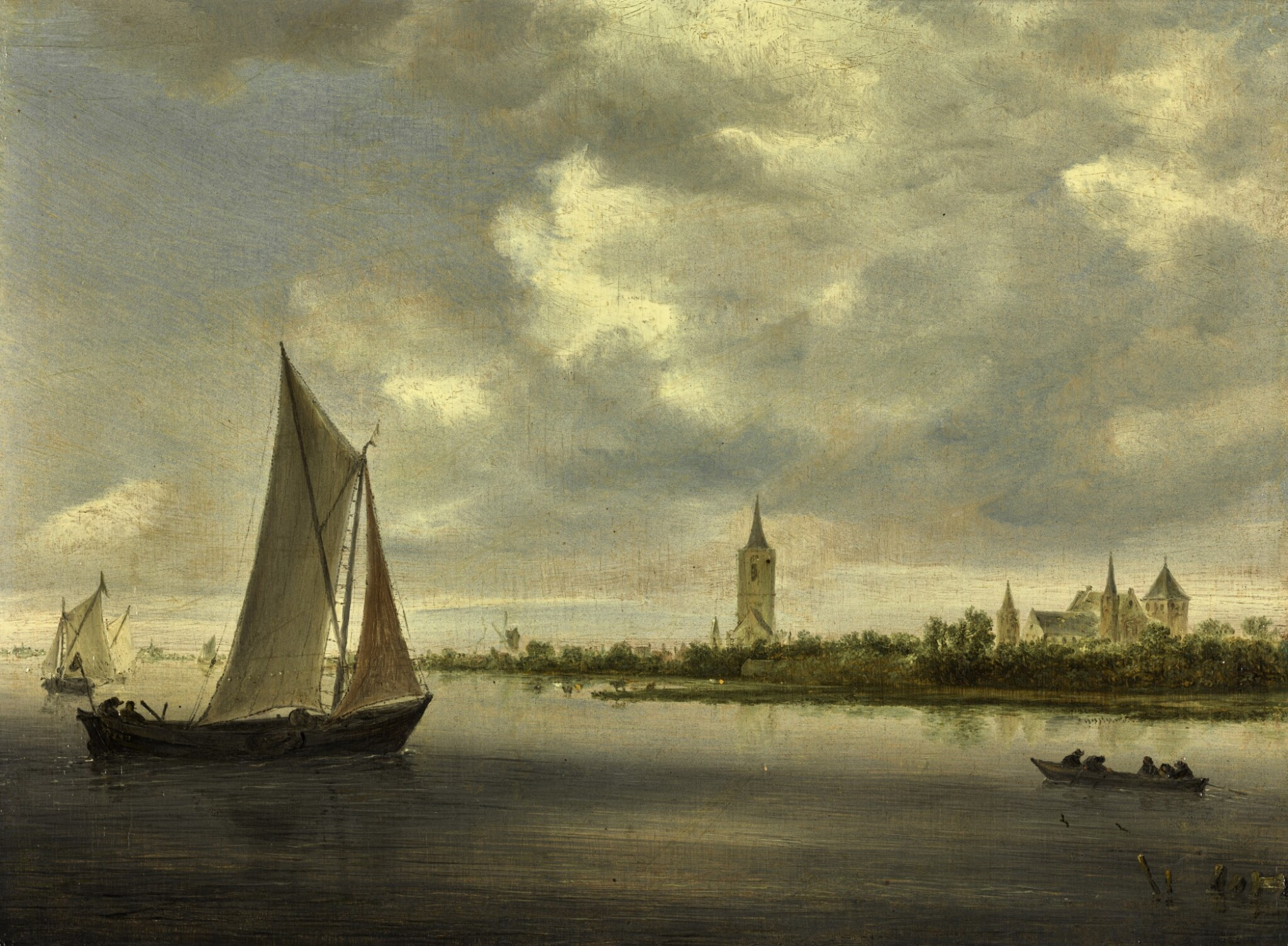 View full screen - View 1 of Lot 9. A river landscape with sailing boats, possibly a view on the Wijkermeer | 《河上帆船風景,應為維格米爾的景觀》.