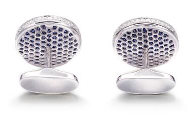 View 3. Thumbnail of Lot 1091. 'Diamond on Diamond' Pair of Sapphire and Diamond Cufflinks |  格拉夫| 'Diamond on Diamond' 藍寶石 配 鑽石 袖扣一對 (藍寶石及鑽石共重約2.80及2.60克拉).