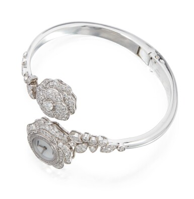 View 2. Thumbnail of Lot 39. DIAMOND AND MOTHER-OF-PEARL 'CAMELLIA' BRACELET-WATCH, CHANEL, FRANCE.