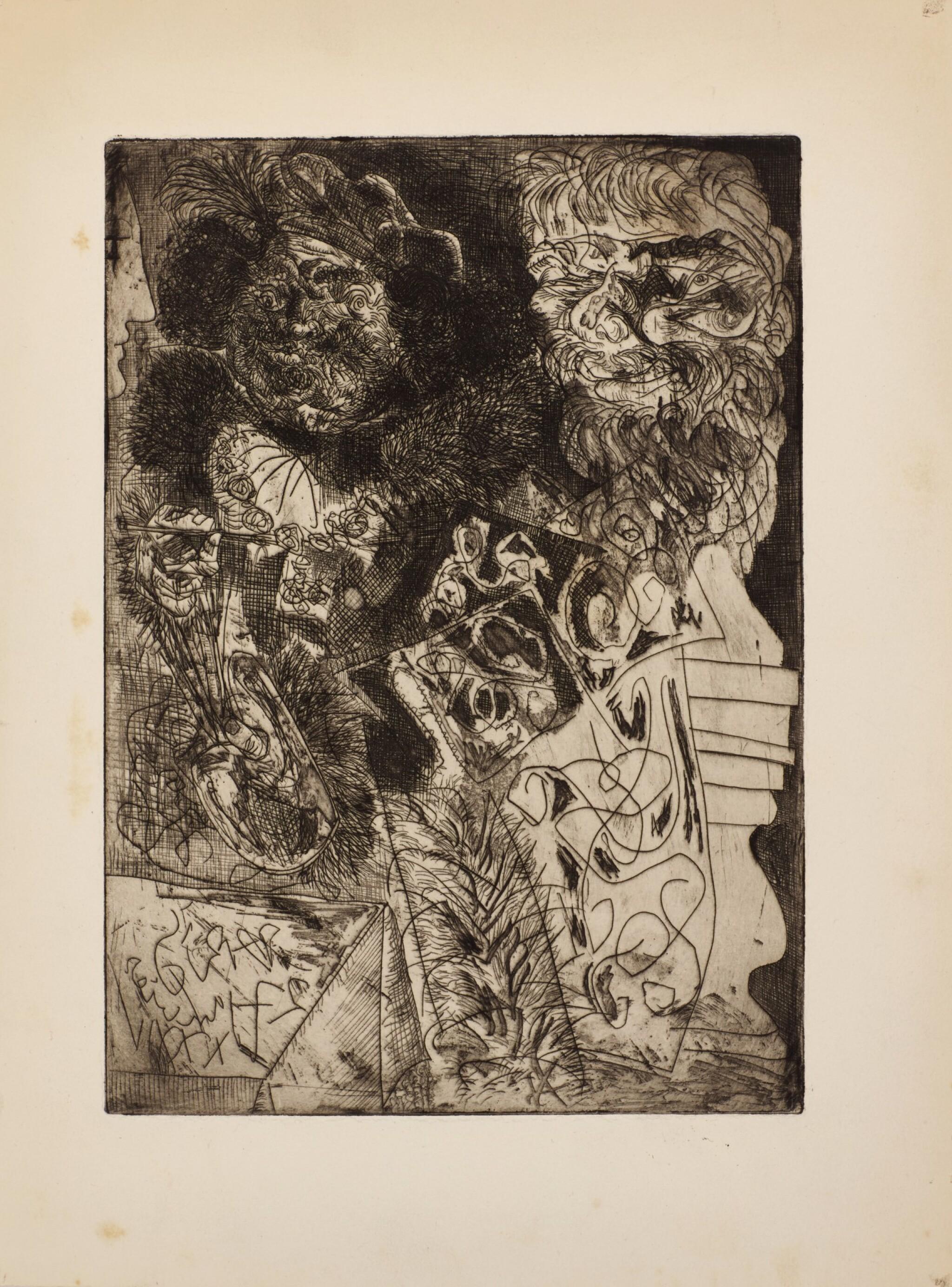 View full screen - View 1 of Lot 116. PABLO PICASSO | REMBRANDT À LA PALETTE (B. 208; BA. 406).