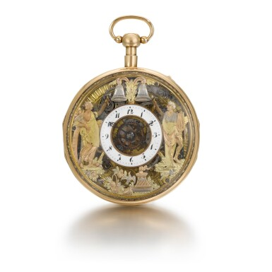 View 1. Thumbnail of Lot 286. ROMILLY & COMPE   A GOLD QUARTER REPEATING AUTOMATON WATCH WITH JACQUEMARTS, CIRCA 1790 NO. 5089.