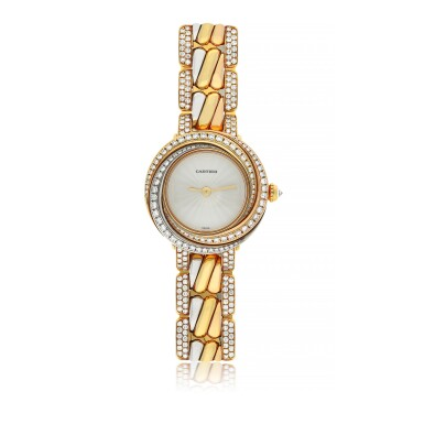 View 1. Thumbnail of Lot 42. CARTIER | REF 2357 TRINITY, A TRI-COLOR GOLD AND DIAMOND SET BRACELET WATCH CIRCA 2015.