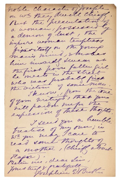 View 2. Thumbnail of Lot 31. JOSEPHINE BUTLER | Autograph letter signed, to Robert F. Horton, 1898.