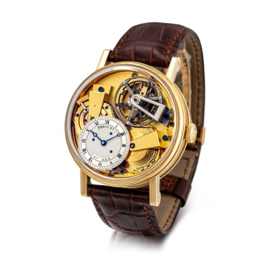 View 2. Thumbnail of Lot 8005. Breguet | La Tradition, Reference 7047, A yellow gold semi-skeletonised tourbillon wristwatch with chain and fusée, silicon balance spring and power reserve indication, Circa 2012 | 寶璣 | La Tradition 型號7047 黃金半鏤空陀飛輪腕錶,備芝麻鏈、矽質擺輪及動力儲備顯示,約2012年製.