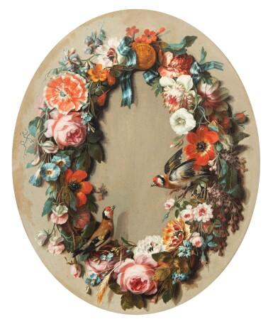 View 1. Thumbnail of Lot 30. JEAN BAPTISTE BELIN DE FONTENAY | FLOWER GARLAND WITH A PAIR OF GOLDFINCH [GUIRLANDE DE FLEURS AUX CHARDONNERETS].