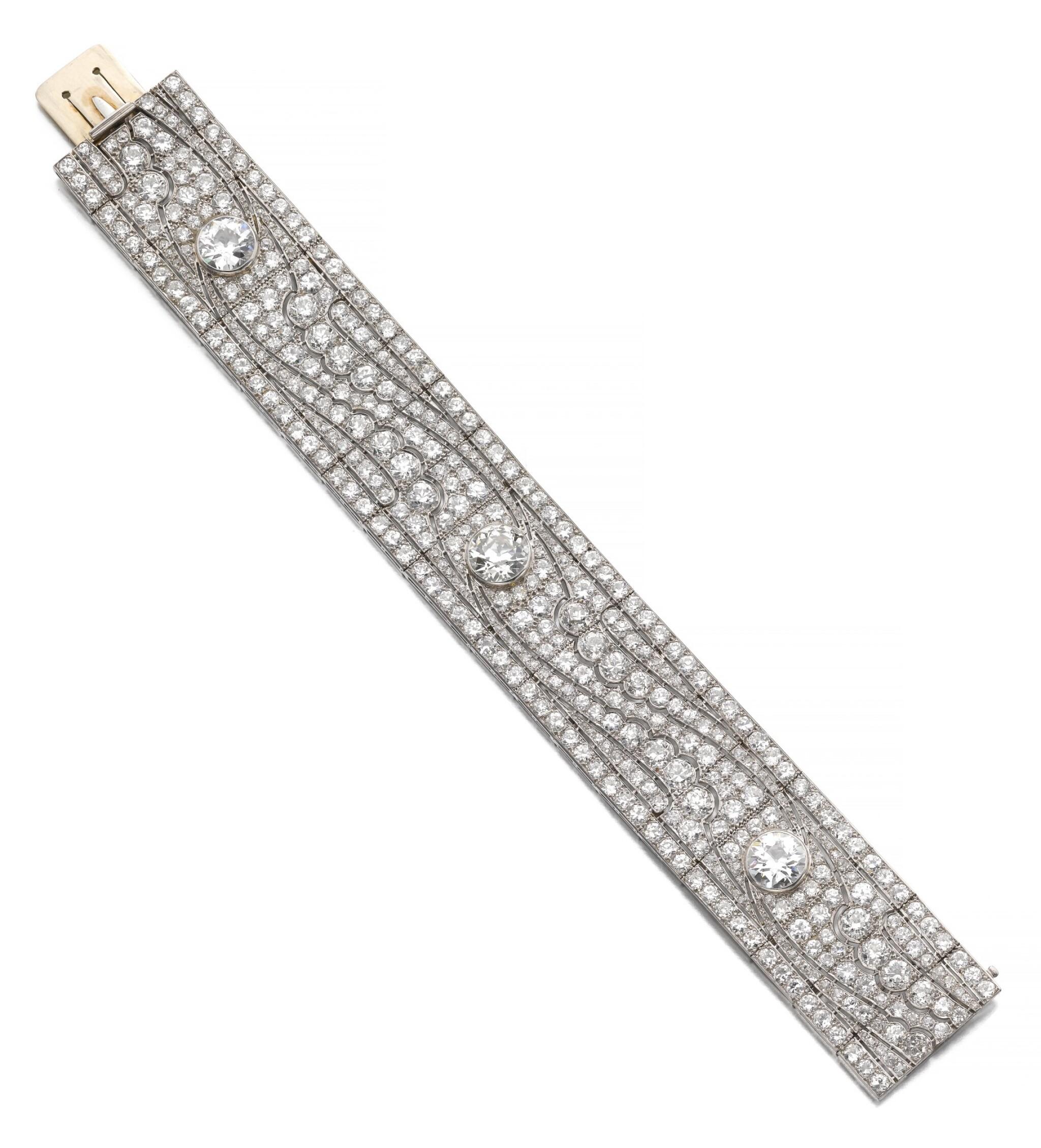 View full screen - View 1 of Lot 602. Diamond bracelet, 1930s   鑽石手鏈, 1930年代.