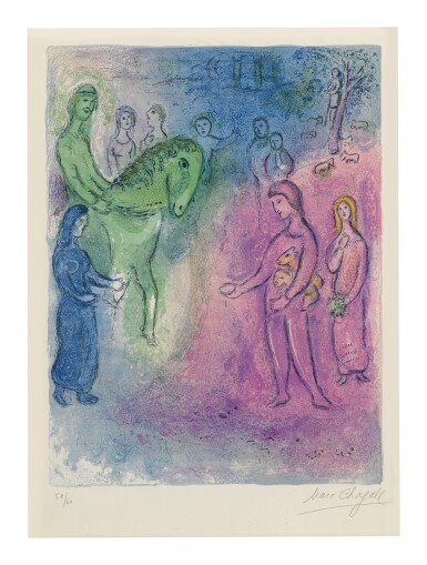 View 1. Thumbnail of Lot 19. MARC CHAGALL | ARRIVAL OF DIONYSOPHANES (M. 344; SEE C. BKS. 46).
