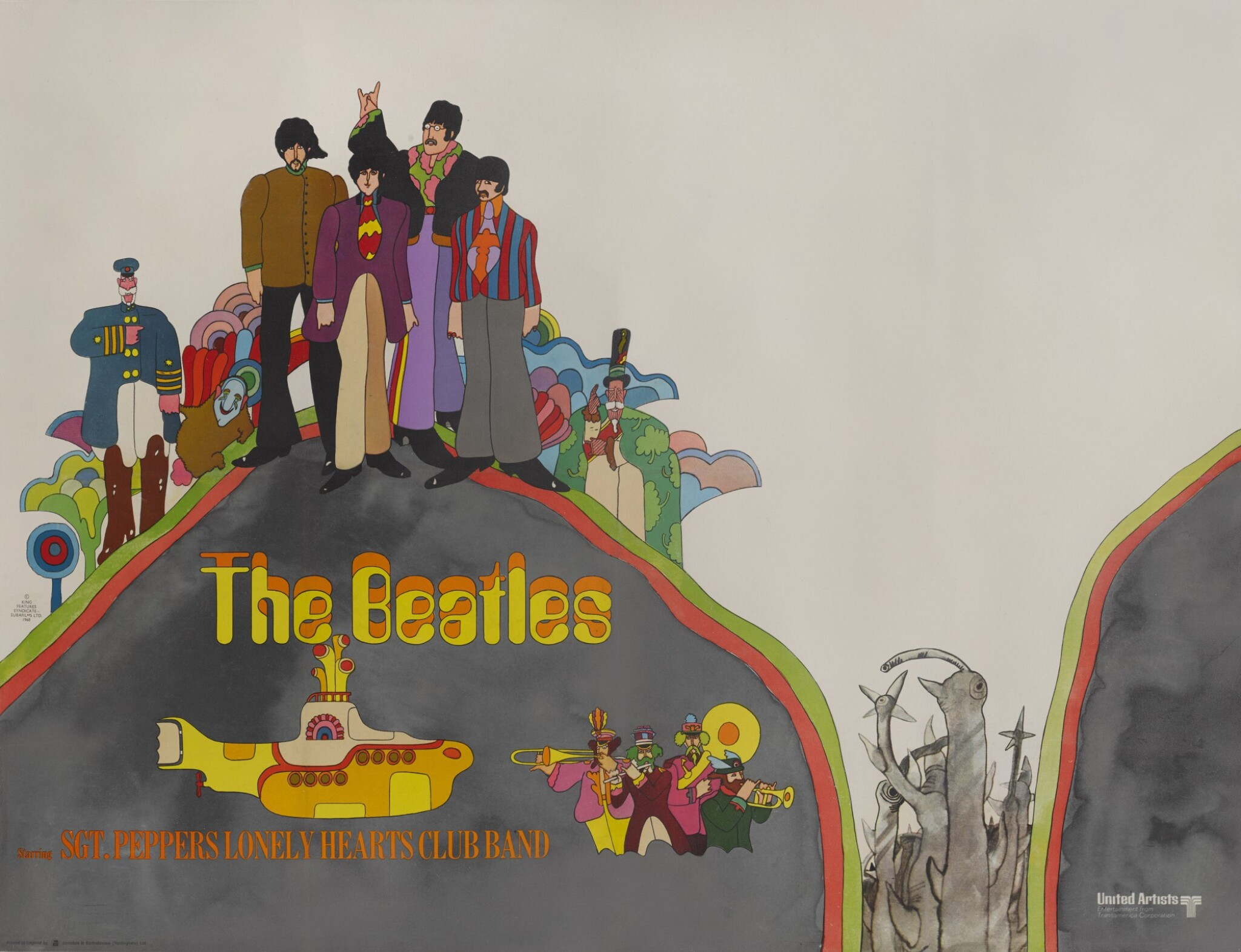 View full screen - View 1 of Lot 48. HEINZ EDELMANN | Yellow Submarine, British, 1968, second advance poster.