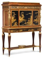 135 A LOUIS XVI STYLE GILT-BRONZE MOUNTED MAHOGANY LACQUER CABINET ON STAND AFTER WEISWEILER, BY MAISON KRIEGER, PARIS LATE 19TH CENTURY/EARLY 20TH CENTURY