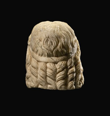 View 6. Thumbnail of Lot 32. A ROMAN MARBLE HEAD OF SARAPIS, CIRCA 2ND CENTURY A.D., ON 19TH CENTURY HERM SHOULDERS.