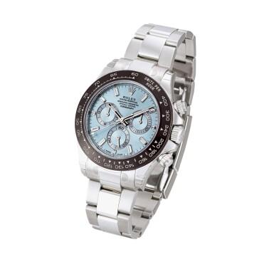 View 2. Thumbnail of Lot 2015. Rolex   Cosmograph Daytona, Reference 116506, A brand new platinum and diamond-set chronograph wristwatch with bracelet, Circa 2020   勞力士   Cosmograph Daytona 型號116506 全新鉑金鑲鑽石計時鏈帶腕錶,約2020年製.