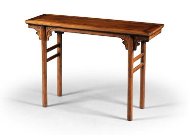 View 2. Thumbnail of Lot 201. Table en palissandre formant console double face, pingtouan Dynastie Qing, XIXE siècle   清十九世紀 花梨木平頭案   A small huali recessed-leg table, pingtouan, Qing Dynasty, 19th century.
