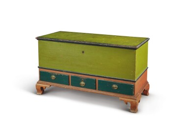 CHIPPENDALE GREEN AND RED PAINTED PINE BLANKET CHEST, PENNSYLVANIA, CIRCA 1800
