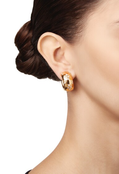 View 2. Thumbnail of Lot 69.  PAIR OF GOLD AND DIAMOND EARCLIPS, CARTIER, FRANCE.
