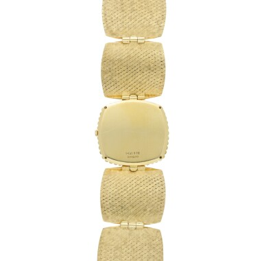 View 5. Thumbnail of Lot 66. PIAGET | REFERENCE 9431 B72 A YELLOW GOLD CUSHION SHAPED BRACELET WATCH WITH MALACHITE DIAL, CIRCA 1971.