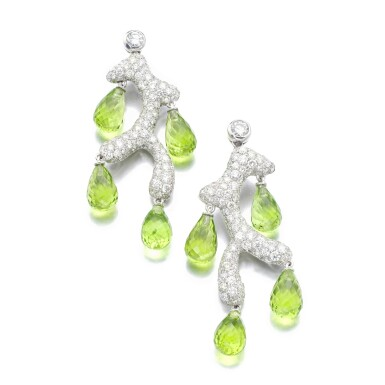 View 1. Thumbnail of Lot 34. MICHELE DELLA VALLE | PAIR OF PERIDOT AND DIAMOND EARRINGS .