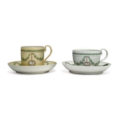 TWO WEDGWOOD THREE-COLOR JASPERWARE CUPS AND SAUCERS CIRCA 1820