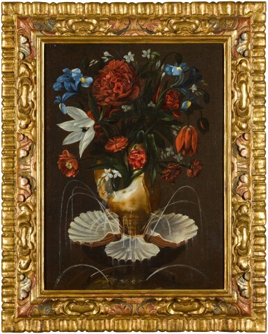 View 3. Thumbnail of Lot 13. ANTONIO PONCE     STILL LIFE WITH PEONIES, CARNATIONS, BLUE IRISES AND OTHER FLOWERS IN A SHELL FOUNTAIN.