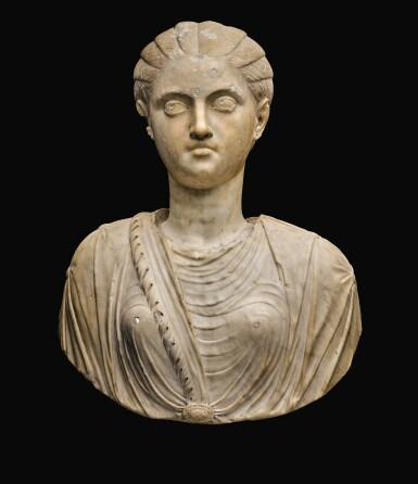 A ROMAN MARBLE PORTRAIT HEAD OF A YOUNG WOMAN, SEVERAN, EARLY 3RD CENTURY A.D., ON 17TH/18TH CENTURY SHOULDERS