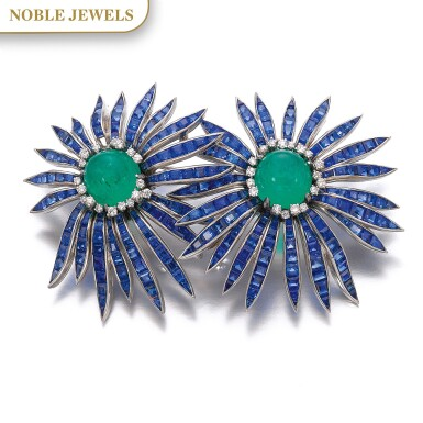 View 1. Thumbnail of Lot 301. VERDURA | EMERALD, SAPPHIRE AND DIAMOND BROOCH, 'DOUBLE ASTER', 1956.