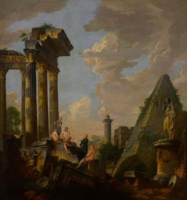 View 2. Thumbnail of Lot 101. An architectural capriccio with a preaching apostle and figures before ruins, including the pyramid of Gaius Cestius, Trajan's column and the arch of Janus .