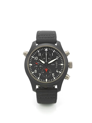IWC | TOP GUN PILOT'S WATCH, A TITANIUM AND CERAMIC AUTOMATIC SPLIT SECONDS CHRONOGRAPH WRISTWATCH WITH DAY AND DATE CIRCA 2012