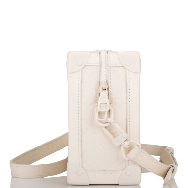View 3. Thumbnail of Lot 85. Louis Vuitton x Virgil Abloh White Soft Trunk Bag of Taurillion Monogram Leather with White Hardware.
