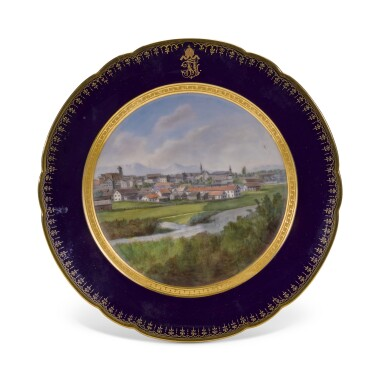 View 14. Thumbnail of Lot 106. An Imperial presentation set of twelve Hutschenreuther porcelain plates, circa 1890.
