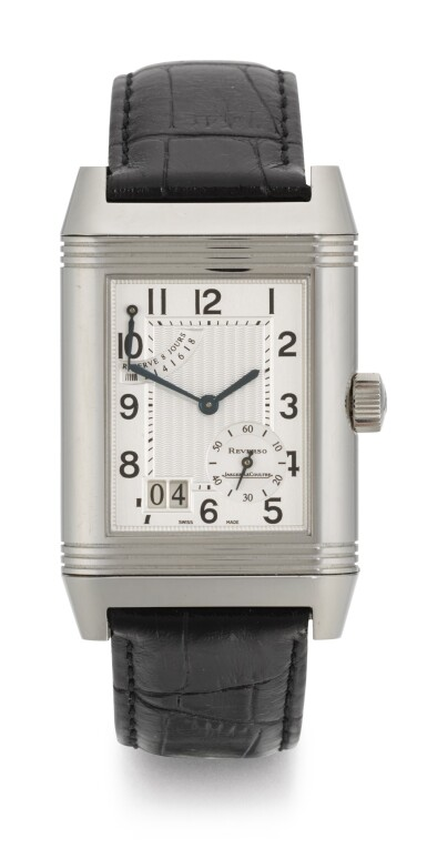JAEGER LECOULTRE | REVERSO, REFERENCE 240.8.15, STAINLESS STEEL REVERSIBLE RECTANGULAR WRISTWATCH WITH 8-DAY POWER-RESERVE INDICATION AND DATE, CIRCA 2003