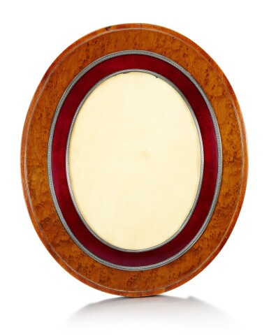 View 1. Thumbnail of Lot 43. A large Fabergé silver-gilt and guilloché enamel mounted wooden frame, workmaster Anders (Antti) Nevalainen, St Petersburg, 1908-1917.
