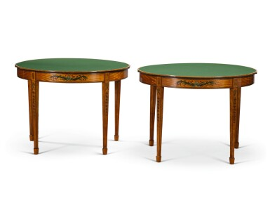 View 2. Thumbnail of Lot 35. A PAIR OF GEORGE III PAINTED SATINWOOD DEMI-LUNE CARD TABLES, CIRCA 1790, ATTRIBUTED TO SEDDON, SONS & SHACKLETON.