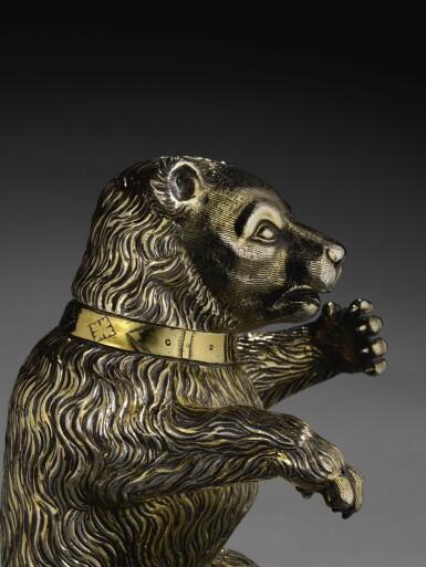 View 3. Thumbnail of Lot 2. A fine German silver-gilt drinking cup modelled as a bear, Hans auf der Burg, Nuremberg, circa 1598-1602.