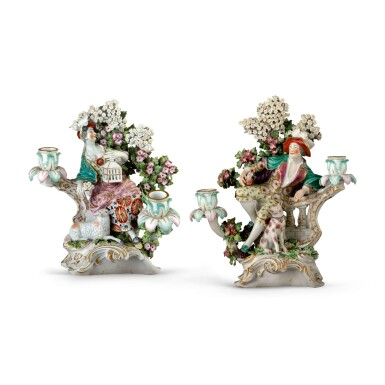 A PAIR OF DERBY BOCAGE CANDLESTICK FIGURES ALLEGORICAL OF 'LIBERTY' AND 'MATRIMONY', CIRCA 1770-75