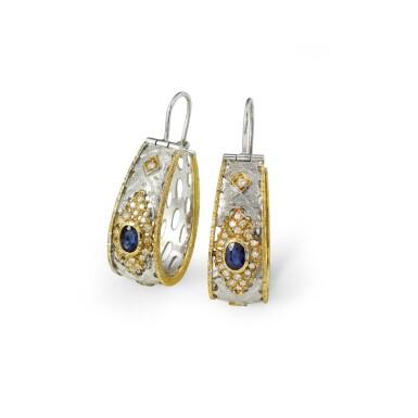 View 2. Thumbnail of Lot 94. Pair of sapphire and diamond earrings [Paire de boucles d'oreille saphirs et diamants].