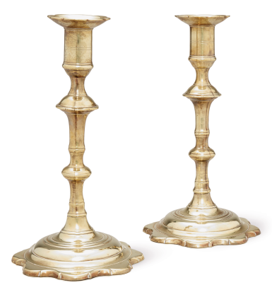 View 1. Thumbnail of Lot 1089. PAIR OF CHIPPENDALE CAST BRASS PETAL BASE CANDLESTICKS, ENGLAND, CIRCA 1770.
