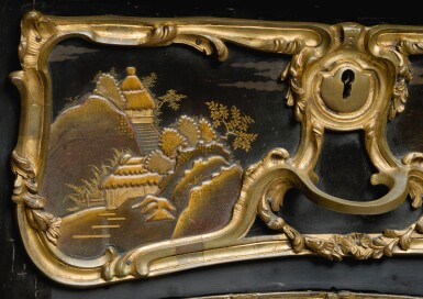 View 6. Thumbnail of Lot 12. A LOUIS XV STYLE GILT-BRONZE MOUNTED JAPANESE BLACK LACQUER AND VERNIS MARTIN BUREAU PLAT, AFTER A MODEL BY JACQUES DUBOIS, LATE 19TH CENTURY.