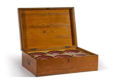 View 6. Thumbnail of Lot 105. A Royal presentation set of eighteen Royal Copenhagen claret-ground plates, circa 1858.
