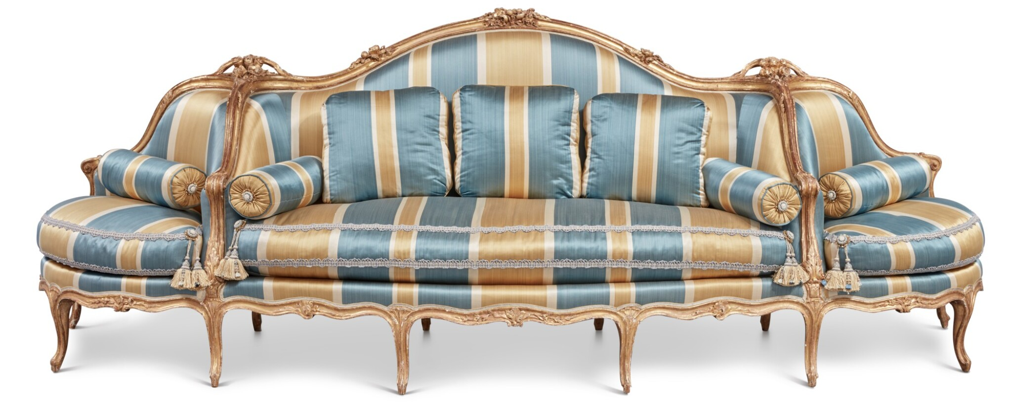 View full screen - View 1 of Lot 64. A Louis XV Carved Giltwood Canapé à Confidents, Mid-18th Century.