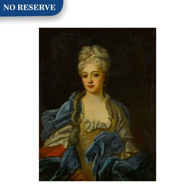 View 1. Thumbnail of Lot 88. Portrait of a lady in an embroidered gown with a blue velvet cloak, half length.