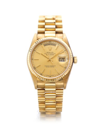 ROLEX | REF 18038 DAY-DATE, A YELLOW GOLD AUTOMATIC CENTER SECONDS WRISTWATCH WITH DAY DATE AND BRACELET CIRCA 1984