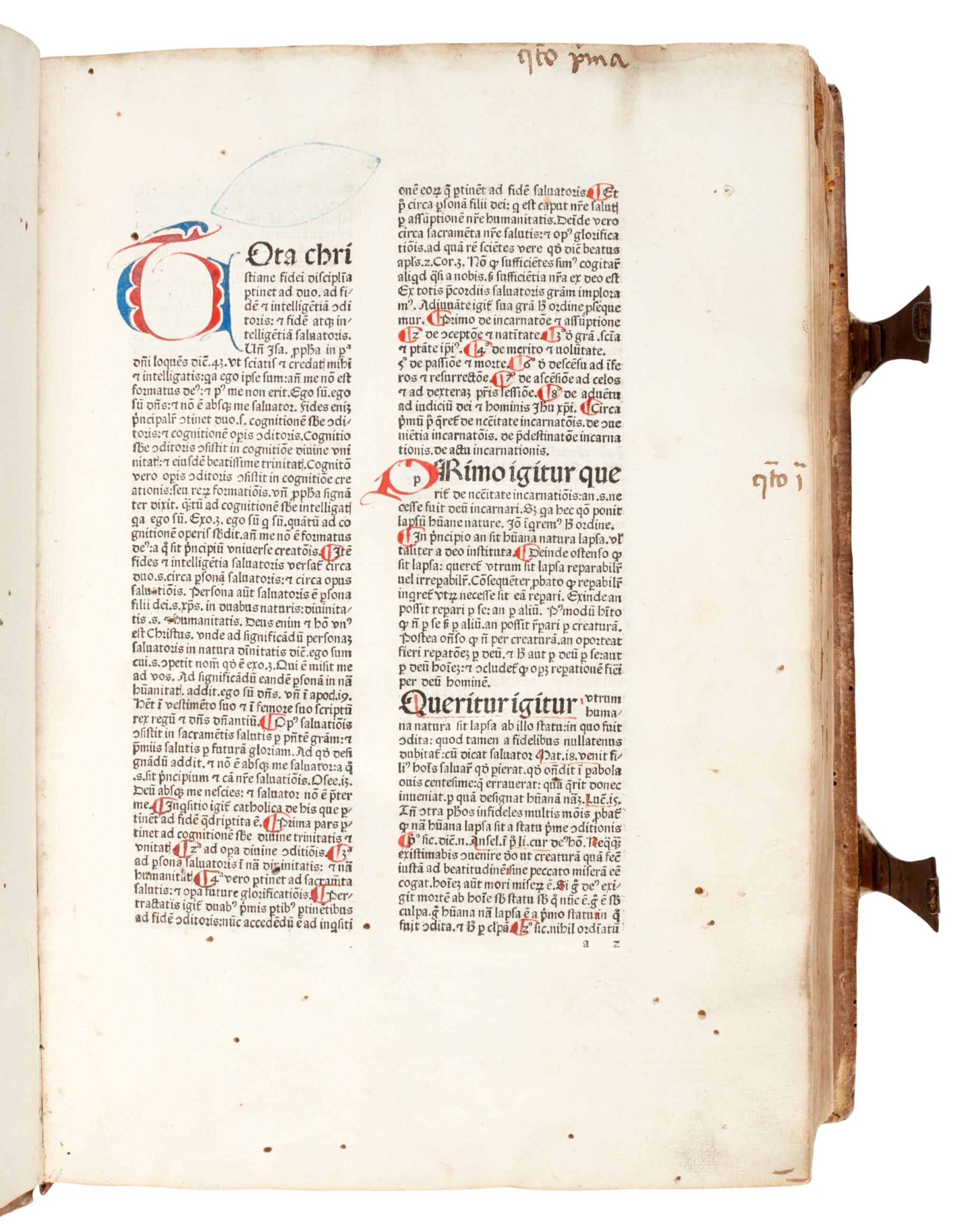 View full screen - View 1 of Lot 43. Alexander de Ales, Super universae theologiae, Venice, 1475, contemporary Germanic pigskin binding.