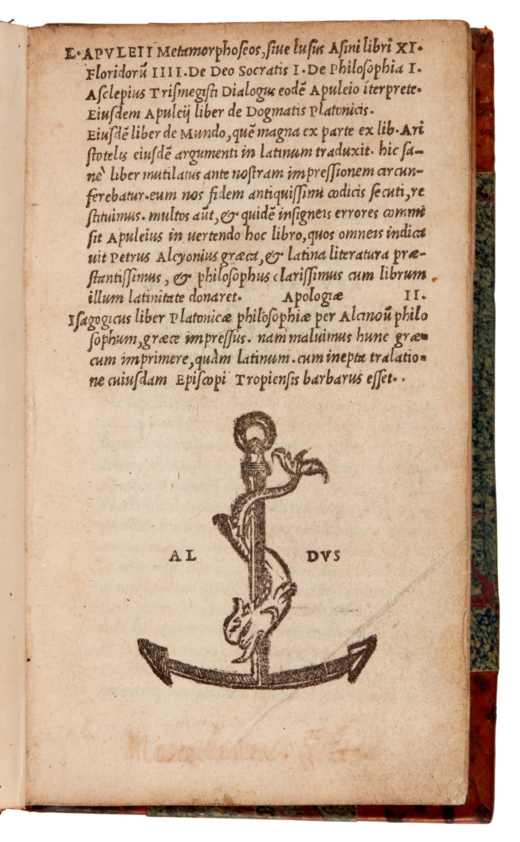 View full screen - View 1 of Lot 47. Apuleius, Metamorphoseos, Venice, Aldus, 1521, later half calf.
