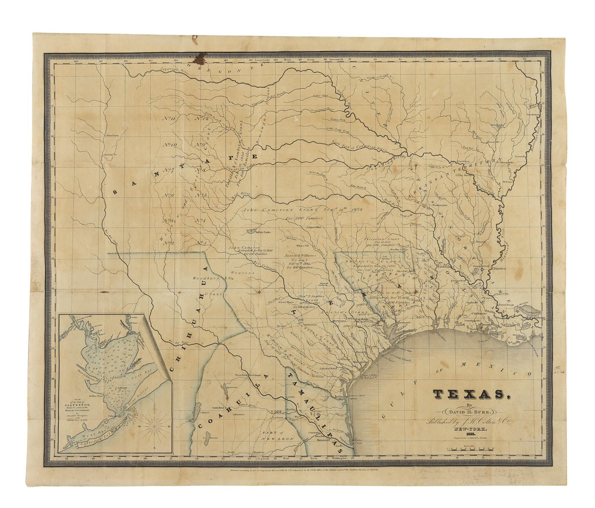 View full screen - View 1 of Lot 174. BURR, DAVID H.   Texas. New York: J. H. Colton & Co., 1833.